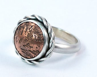 Silver and Copper Mixed Metal Ring / Size 7 Ring / Ready to Ship / Statement Ring / Copper Cocktail Ring