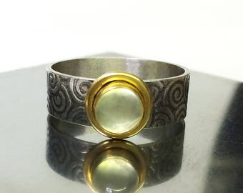 Prehnite Ring with 22K Gold Bezel, Sterling Silver Wide Band Ring, US Size 8.5, Ready to Ship Ring, Prehnite Statement Ring, Cocktail Ring