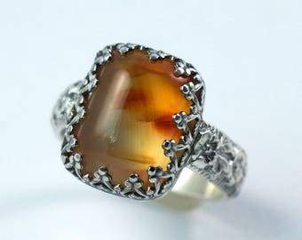 Carnelian Ring, Sterling Silver Floral Ring, Rectangle Carnelian, Crown Bezel Setting, US Size 6.5, Ready to Ship Ring, One of a Kind Ring