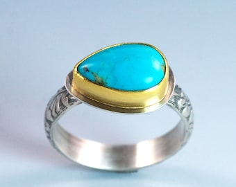 Turquoise Gold Ring, 22K Gold Bezel, Sterling Silver Band, Mixed Metal Ring, US Size 7, Ready to Ship, Blue Turquoise Statement Ring
