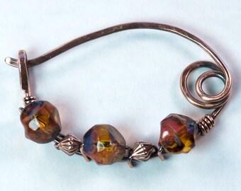 Copper Shawl Pin, Honey Brown Czech Glass Beads / Copper Sweater Pin / Copper Brooch Handmade / Copper Fibula / Artisan Shawl Pin