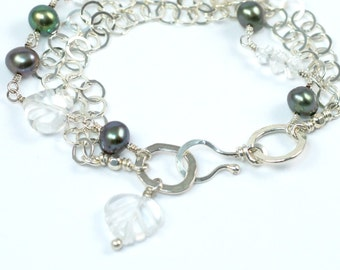 Green Pearl Bracelet, Quartz Crystal Bracelet, Silver Bracelet, Green and Silver Handmade Bracelet, Sterling Bracelet, Layering Bracelet