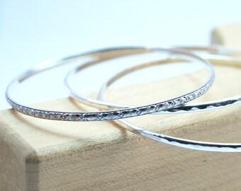 Sterling Silver Bangle Bracelets, Set of 3 Bangles, Art Deco Pattern, Stacking Bracelets, Silver Bangles, Layering Bracelets, Custom Bangles