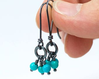 Turquoise Dangle Earrings, Turquoise Earrings with Oxidized Silver, Turquoise Cluster Silver Earrings, Handmade Earrings, Dainty Earrings