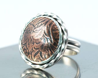Copper and Sterling Silver Mixed Metal Statement Ring, US Size 8.5, Floral Copper Cabochon Ring, Ready to Ship Floral Pattern Ring
