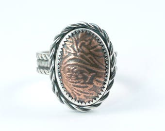 Mixed Metal Statement Ring / Copper and Silver Ring / Floral Design Statement Ring / US Size 8 / Ready to Ship / Floral Cocktail Ring