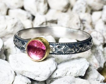 Pink Tourmaline Ring, 22K Gold Bezel, Gold and Silver, Mixed Metal Ring, Engagement Ring, Stacking Ring, Pink Ring, US Size 8, Ready to Ship