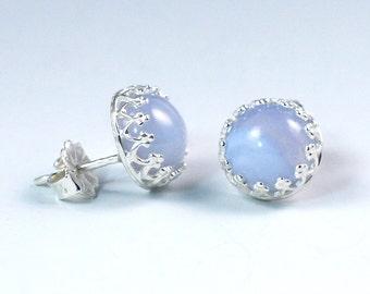095afc97c Blue Lace Agate Stud Earrings made of Sterling Silver - 8mm Stud Earrings