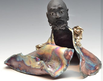 Bodhidharma Dancing in the Vortex Figurative Sculpture Raku Ceramics