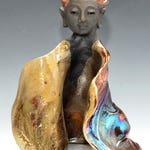 Goddess Kwan Yin Buddha With Copper Hair in Raku Ceramics by Anita Feng