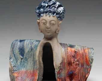 Goddess Kannon Buddha With Blue Hair in Raku Ceramics by Anita Feng