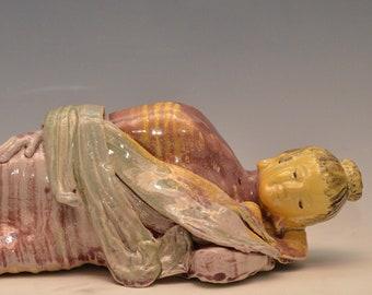 Sleeping Buddha Sculpture in a Warm Glowing Glaze by Anita Feng