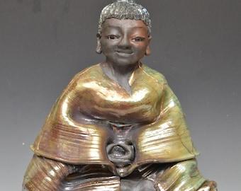 Large Black Medicine Buddha Statue With Gold Lightening Strikes Original Figurative Art Meditation Raku Ceramics Anita Feng