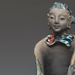 Ceramic Figurative Sculpture Kwan Yin Goddess Statue In Blue Copper Raku Clouds