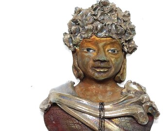 Zen Wall Art Buddha Kannon Bodhisattva Figurative Sculpture in Raku Ceramics With Gold Hair and Golden Clouds