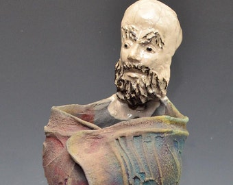 Bodhidharma Statue With a Robe on Fire Abstract Art Figure Figurine Wabi Sabi style by Golden Wind Raku