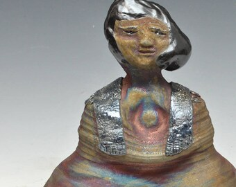 Abstract Buddha Seated in Meditation in Copper Red and Blue Raku Ceramics
