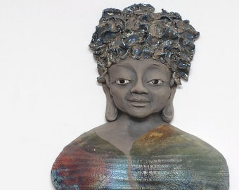 Female Buddha Scupture Wall Hanging in Raku Ceramics