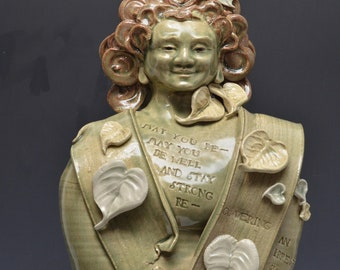 Standing Female Bodhisattva Buddha Sculpture Celadon by Anita Feng