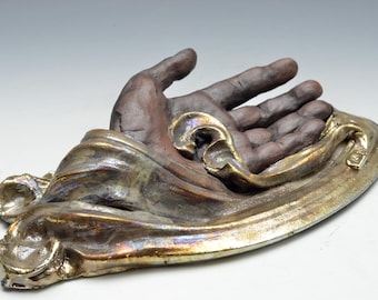 Hand Sculpture in Gold Clouds Raku Ceramics by Anita Feng