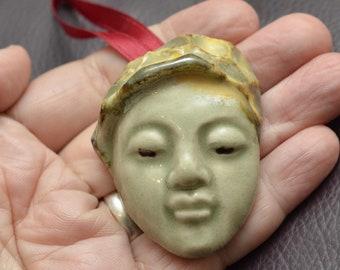 Small Handmade Buddha Face Stocking Stuffer or Christmas Tree Ornament or Hannukah Gift