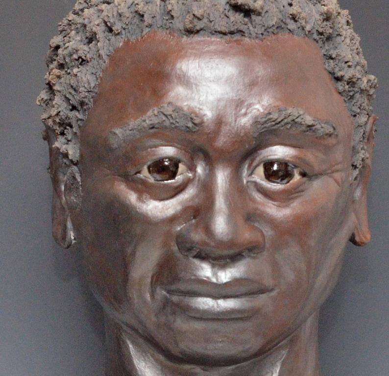 Figurative Sculpture African Man Bust Raku Ceramics by Anita image 0