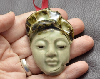 Small Celadon Buddha Face Stocking Stuffer or Christmas Tree Ornament or Hannukah Gift