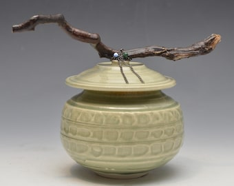Celadon Jar With Beautiful Driftwood Handle, Chains and Beads