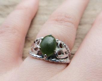 Vintage Silver Color Jade Ring, Cabochon Jade Ring, Filigree Vintage Style Ring size 6