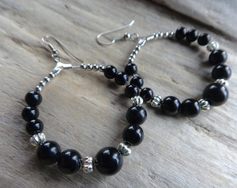 Vintage Black Beaded Hoop Earrings, Beaded Retro Black Earrings, Big Chunky Funky Earring Jewelry