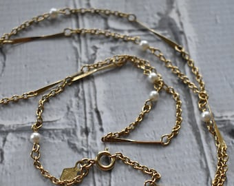 Sarah Coventry Vintage Necklace-  Beaded Chain Vintage Necklace- Vintage Pearl Necklace