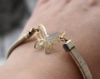 Vintage Butterfly Bracelet- Spring Butterfly Bangle- Gold Stretch Bracelet Adjustable Butterfly Gift