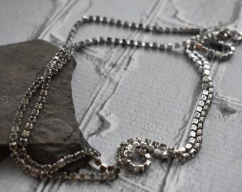 Long Vintage Rhinestone Necklace- Clear Rhinestone Vintage Evening Wear- Silver Crystal Necklace