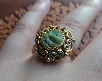Vintage Gold Color Jade Ring, Adjustable Jade Ring, Filigree Vintage Style Ring size 5 or 6 Best Fit