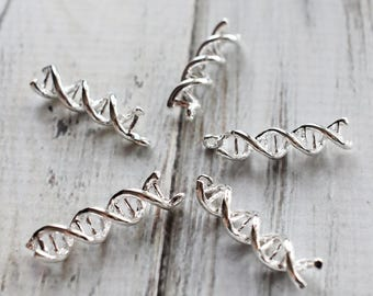 DNA Biology Charms, Double Helix Deoxyribonucleic acid Base Metal Charms, Science Silver charms -10