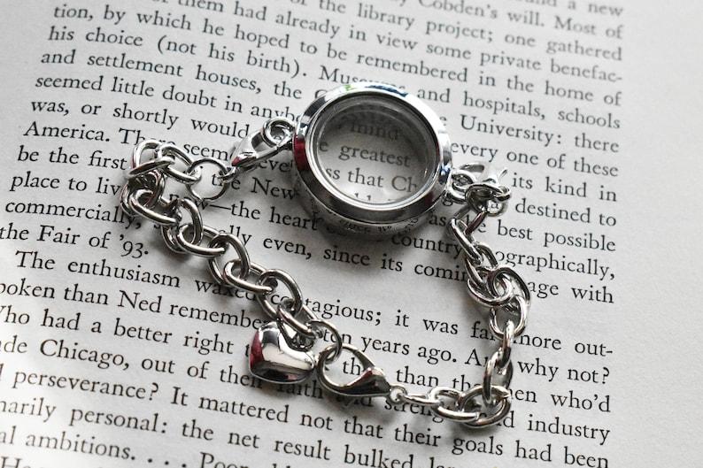 11mm Disc Locket Silver Charm Locket Glass Double Sided Locket Steel Magnetic Locket Bracelet