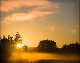 Orange Sunrise Landscape Photograph--Sunrise with Mist--Fine Art