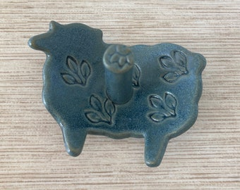 Matte Blue Sheep Ring Holder Dish
