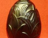 French Art Deco Signed Sabino, Marius-Ernest BLACK leaves vase Very Rare Lalique School