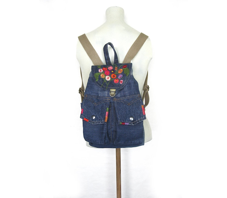 Ecology Vegan Bag Denim Backpack Small Jeans Rucksack