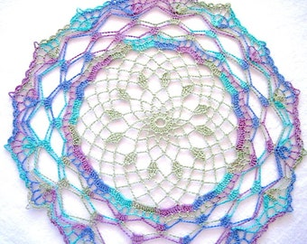 """Small Size - Purple Green Blue Variegated Colored Hand Crocheted Doily 12"""""""