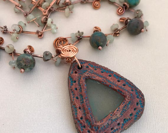 Necklace Sea Glass & Clay Pendant, Agate, Aquamarine, Copper Hammered Bar Chain Unique Handmade
