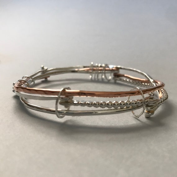 Bangle Riveted Layers Silver Copper