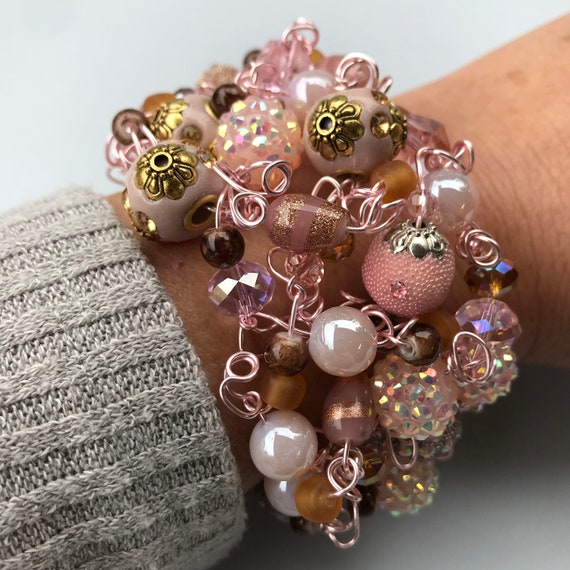 Large Chunky Fun Handmade Cuff Bracelet