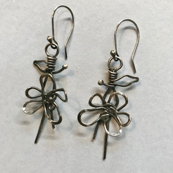 Flower Earrings Sterling Silver