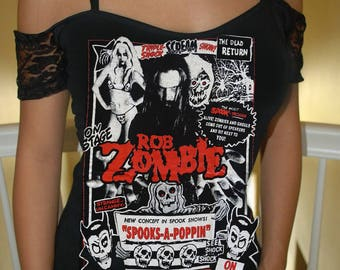 custom rob zombie off the shoulder top black lace metal rock horror  available in size XS-XL 39192c843198