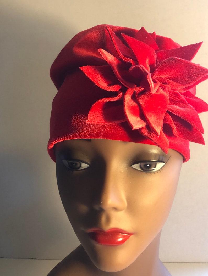 Womens Red Velvet Hat Satin Lined image 0