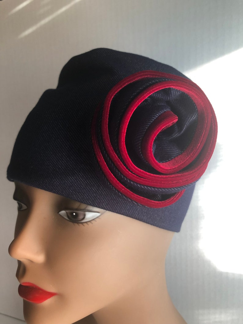 Womens Knit Hat Denim Knit Hat Gift for Women Womens Red image 0