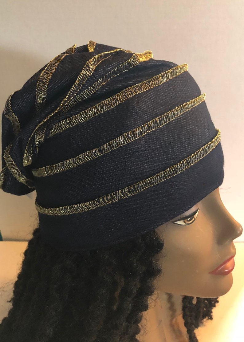 Dark Denim Knit Slouchy Hat Gold Stitching image 0