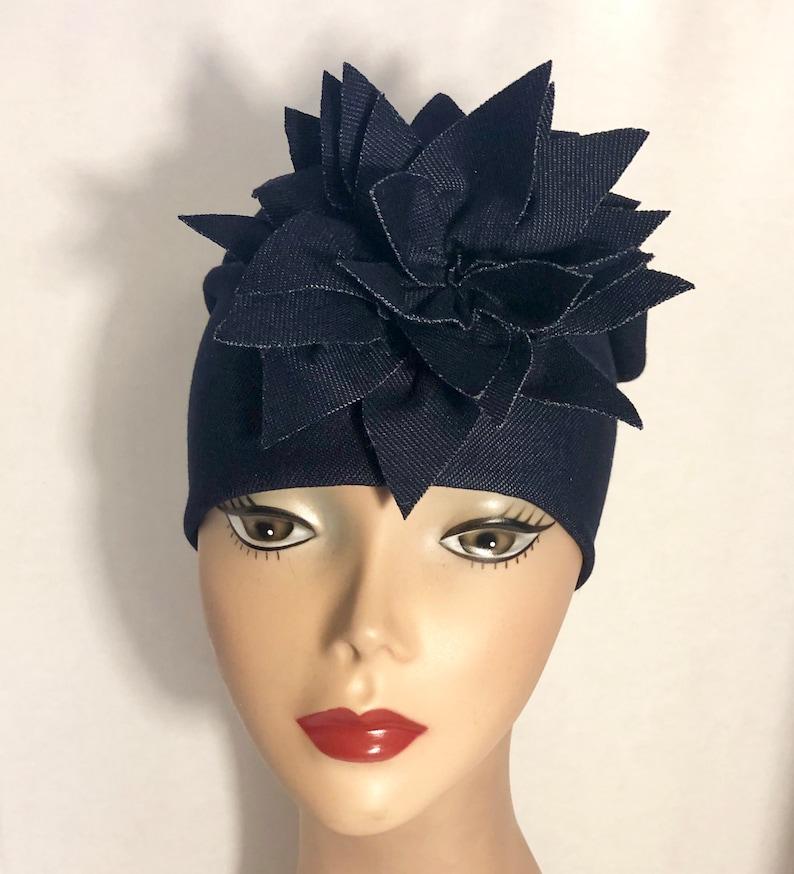 Women\u2019s Denim Hat Chemotherapy Gifts HerHat Soft Denim Knit With Exploding Flower